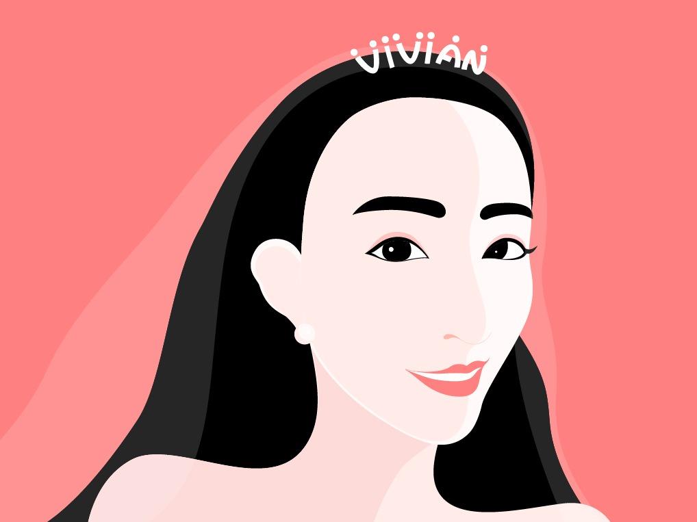极简人物插画-戴皇冠批头纱的vivian