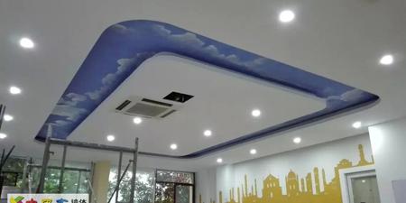 顶蓝天白云手绘壁画