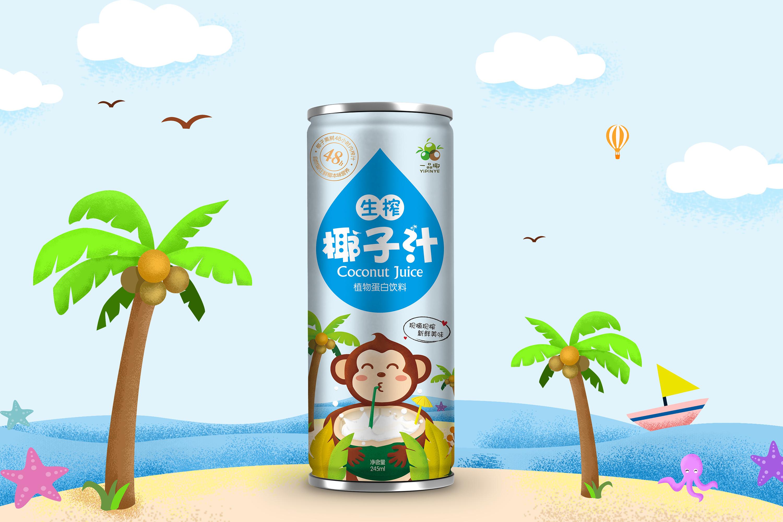 椰子汁包装设计挖机广告设计模板图片