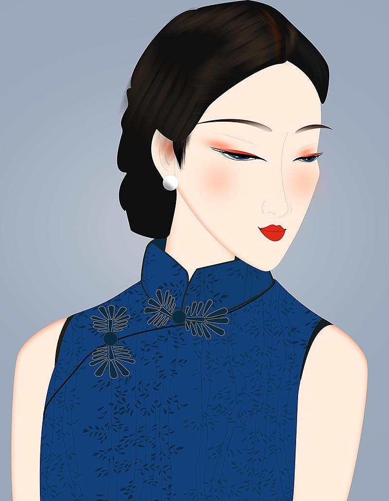 旗袍美女 民国美女 古典美女 手绘美女 手绘插画 古装美女 旗袍女孩