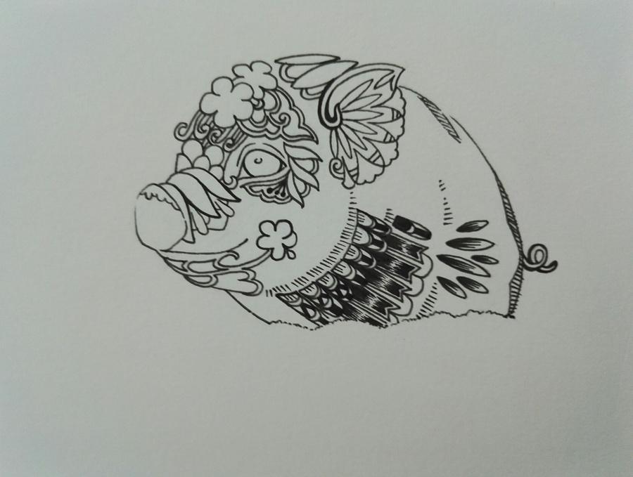 黑白手绘小花图案