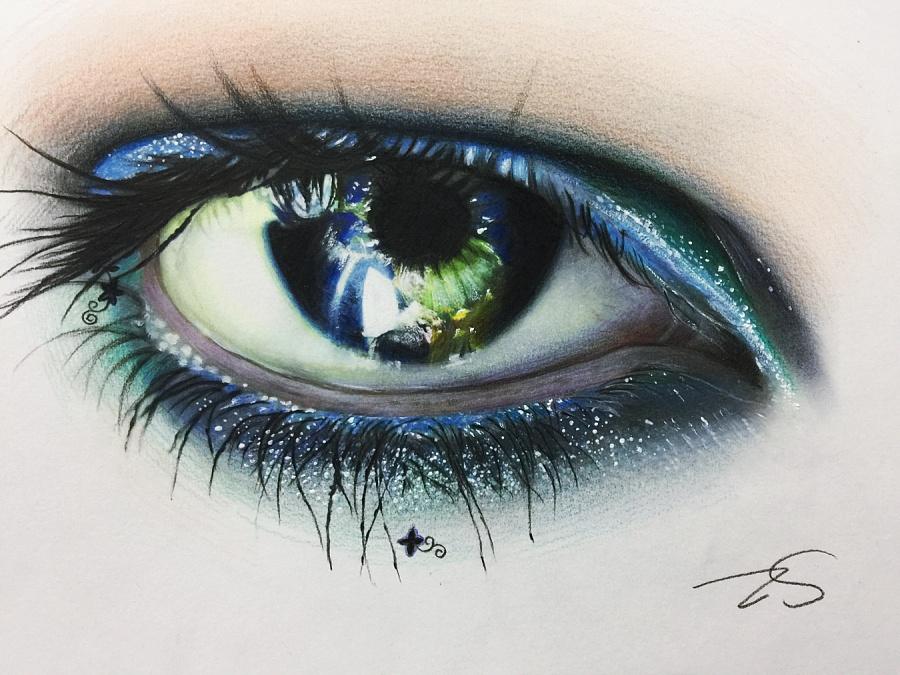 原创作品:彩铅手绘大眼睛