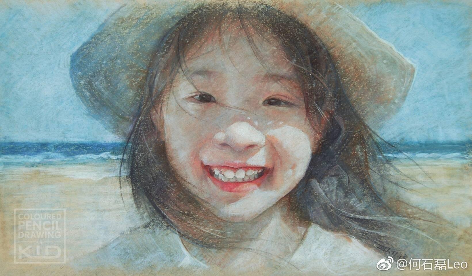 彩铅人物-小女孩