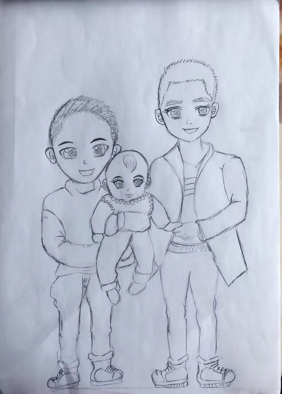 幸福的一家人简笔画_幸福的一家人简笔画画法图片