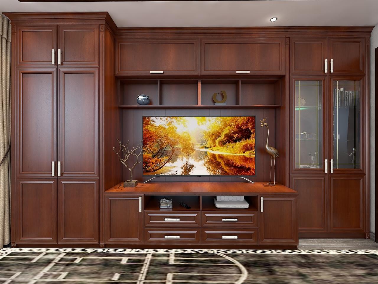 老人房电视柜.衣柜.装饰柜.三阶梯.   罗马柱更显立体感.图片