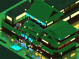3d pixel building design像素汤建筑