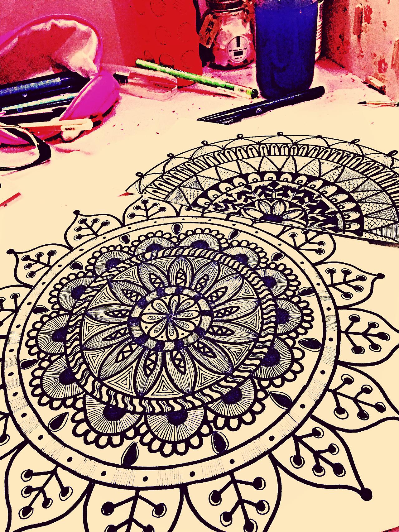 曼陀罗,装饰画,手绘,插画,黑白装饰画,线描
