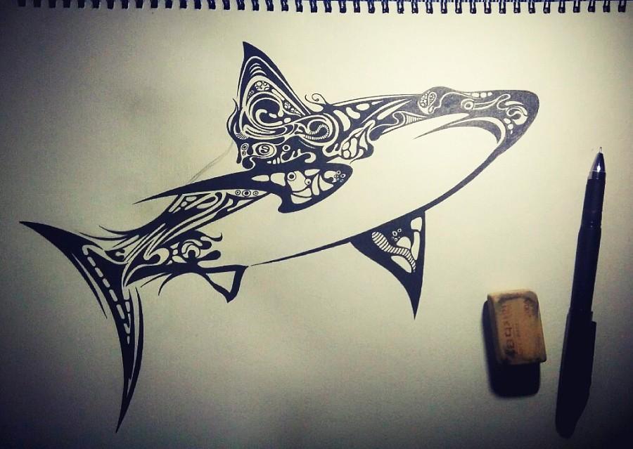 手绘 黑白 插画 鱼