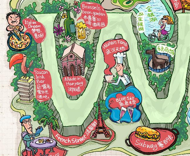 老外的 武汉城 手绘地图