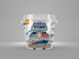 牦牛酸奶包装插画