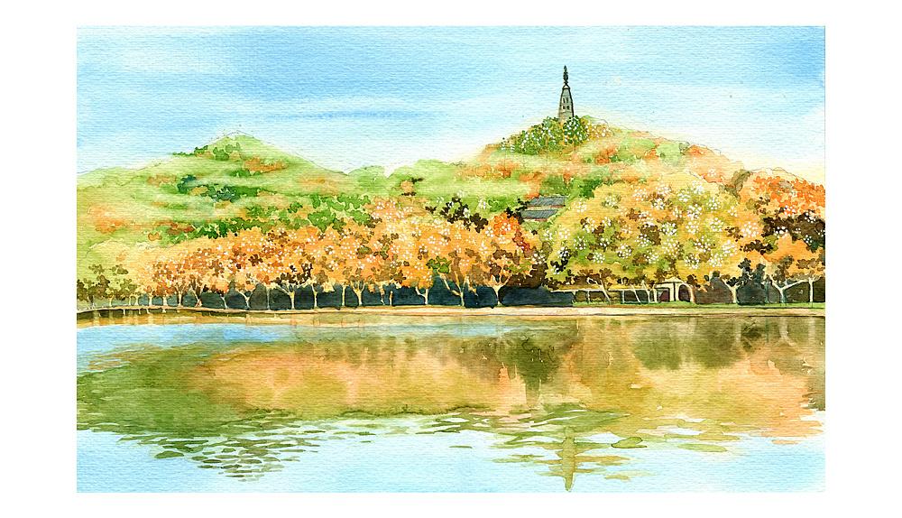 手绘城市系列——《西湖十景》