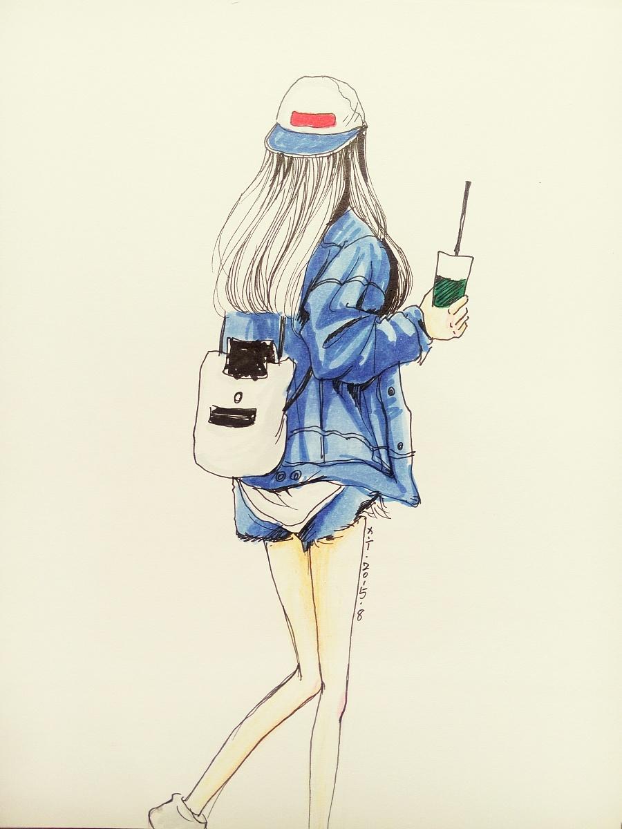背影女孩|绘画习作|插画|上官凝儿 - 原创设计作品图片