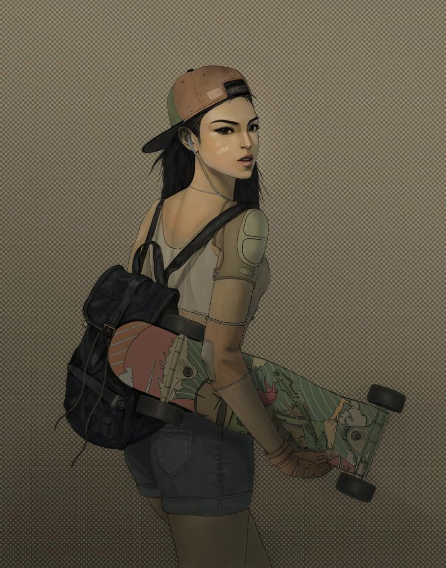 插画绘画|滑板习作|女生|MickeyLisss-原创v插画鸡少女想我鸡看图片