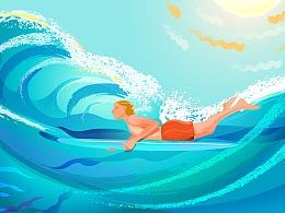 蓝色绿色阳光大海自由冲浪少年假期矢量插图