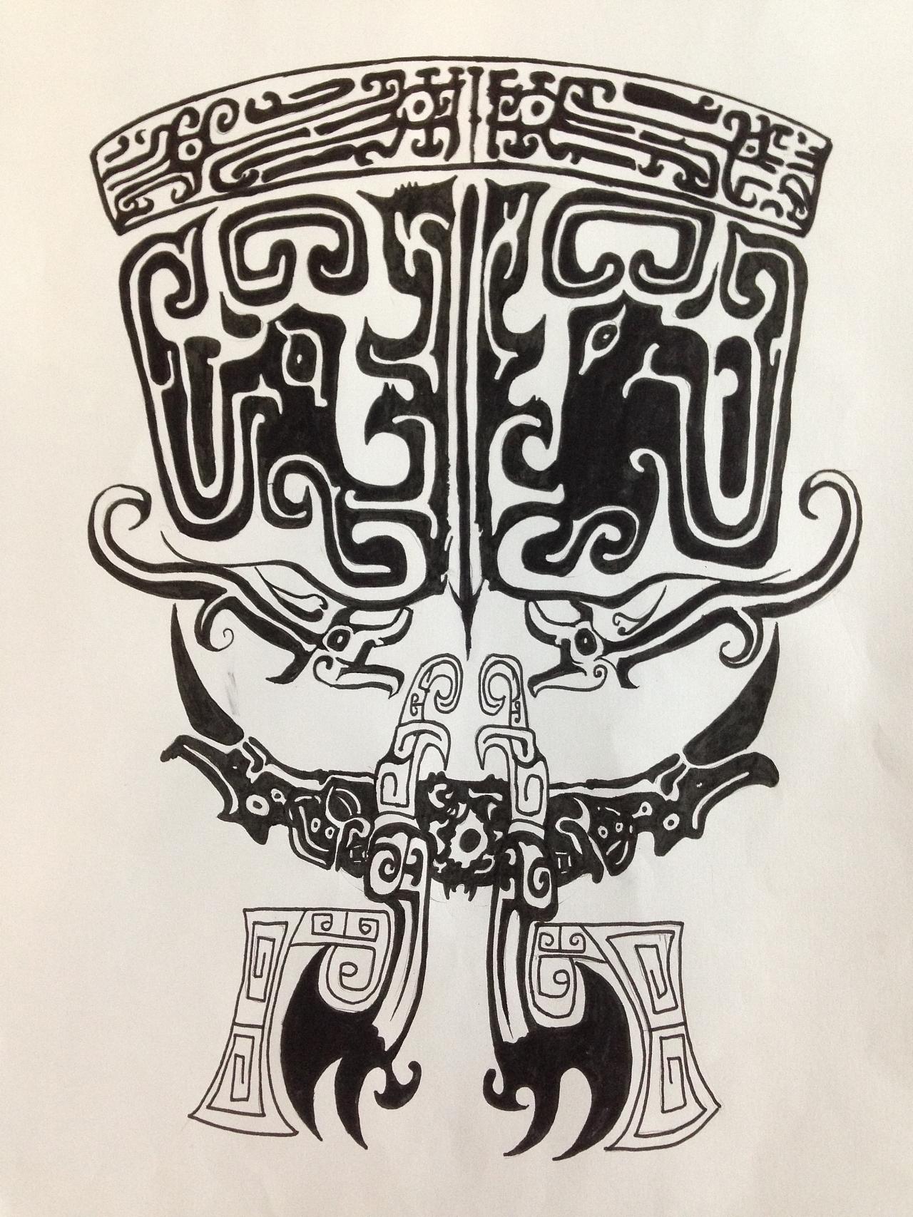 古风人物线条纹身分享展示_纹身图案
