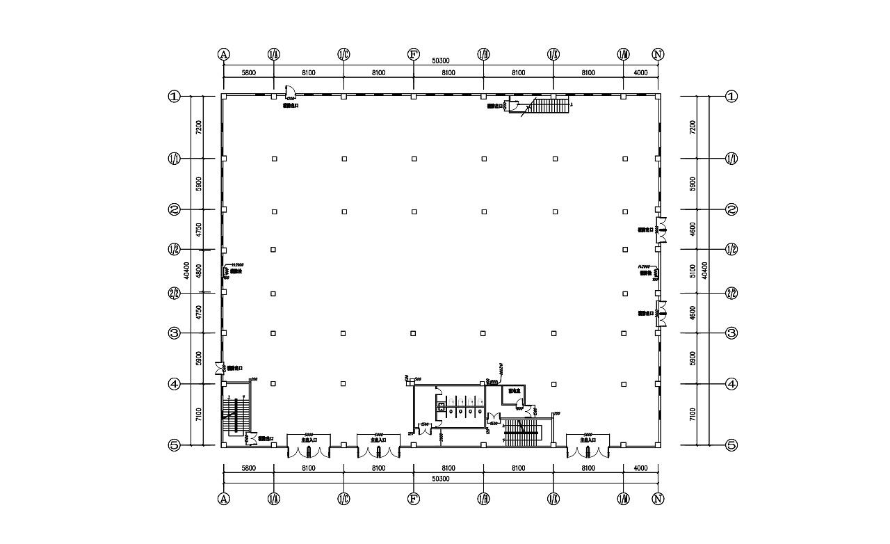 根据提供的原始建筑结构图进行展区布局设计