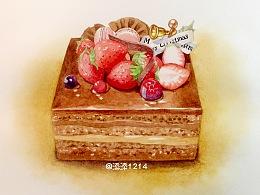 水彩草莓蛋糕~(含步骤)