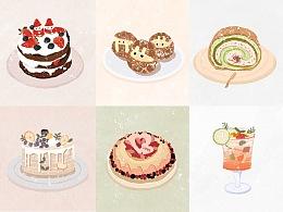 甜品插画系列