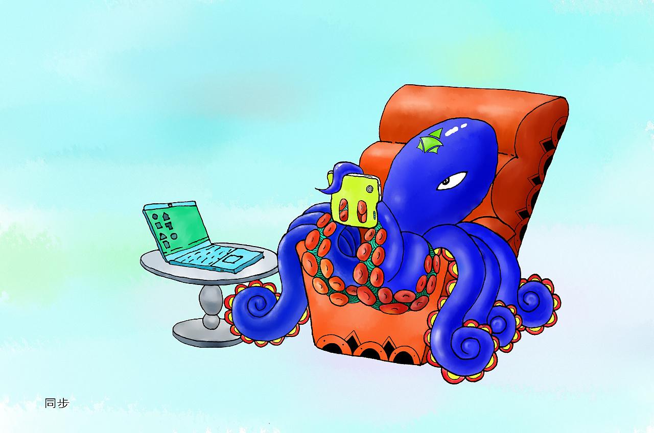 【同步】 有很多人在不自觉中会开着电脑玩手机.-屏奴 系列插画