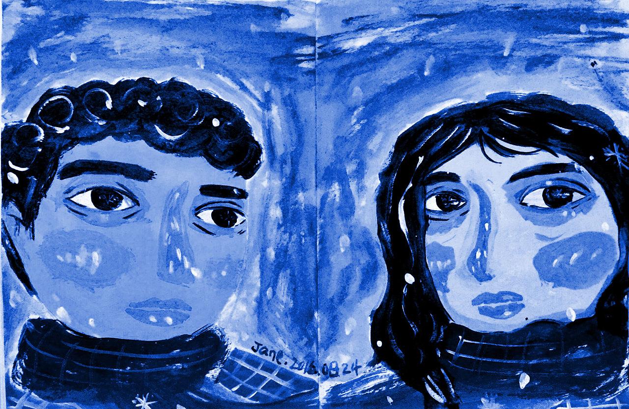 情侣头像涂鸦-蓝