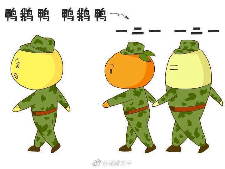 军训卡通人物手绘