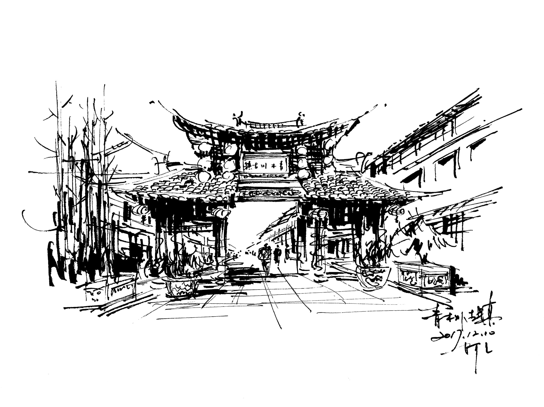 速写建筑风景钢笔画阿王