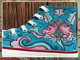 山西古建游记之「垂花遙.出尘」手绘鞋履设计