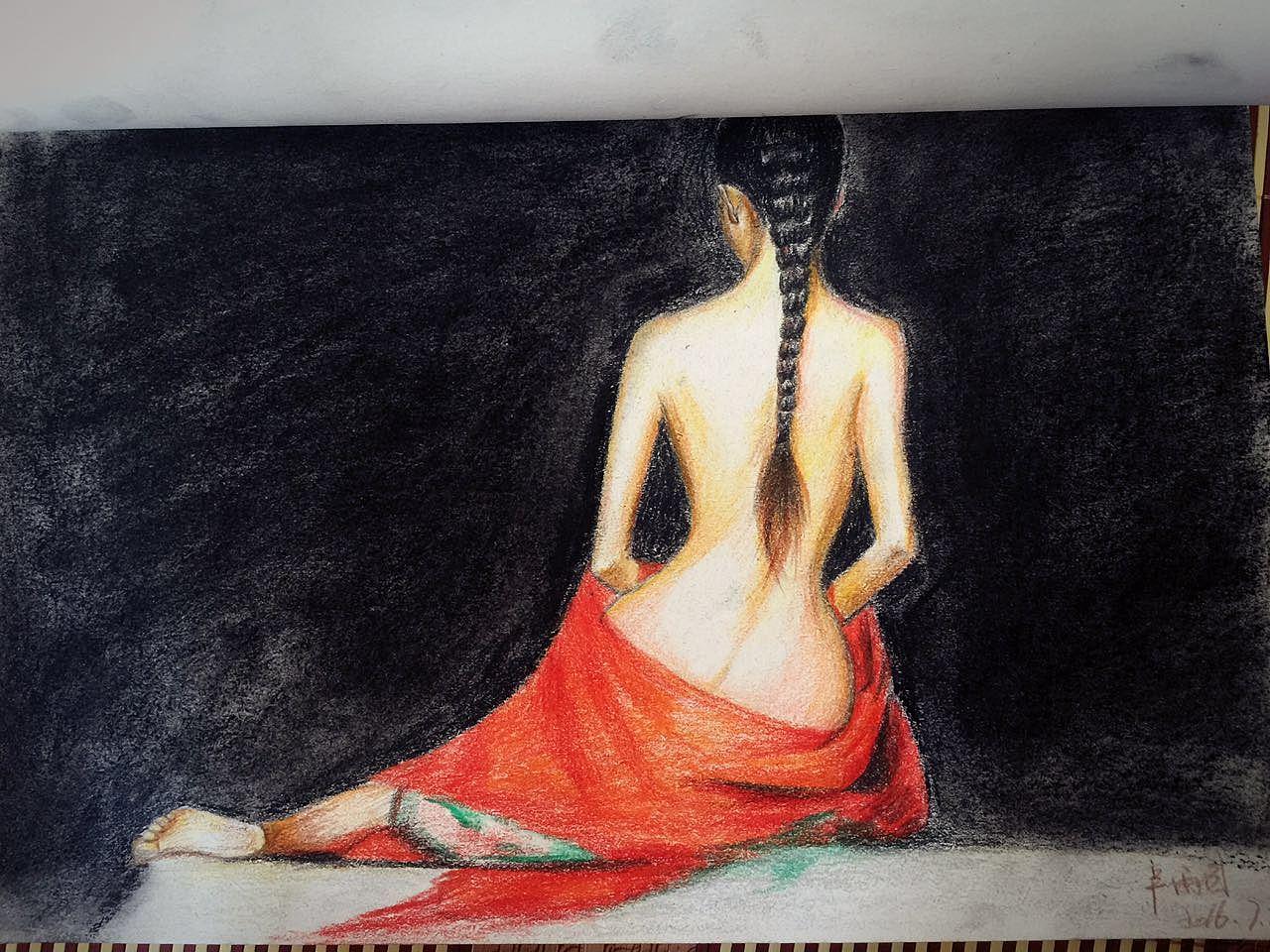 彩铅 美女背影图 手绘人物