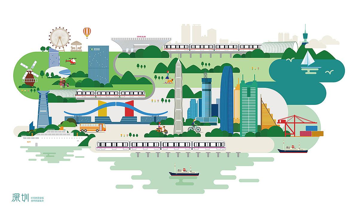 深圳城市标志性建筑扁平设计
