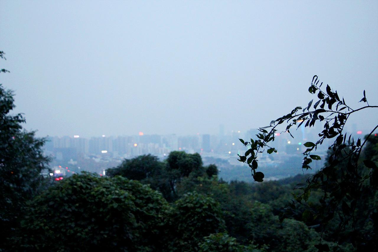 下山的时候夜幕降临,镜头下的大蜀山与城市的风景交相辉映 我们的