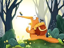 儿童插画-小动物场景