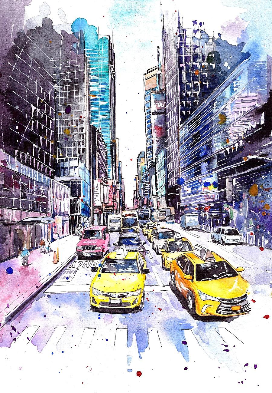 其他 - 铅笔 使用了:其他 - 水彩       建筑手绘,水彩手绘,纽约街头