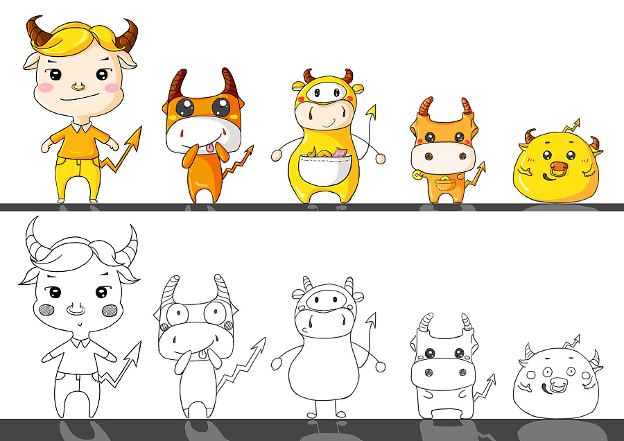 牛的吉祥物设计图片
