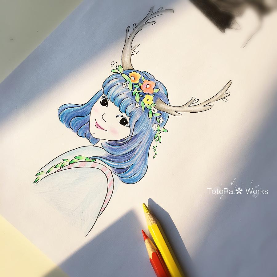 纯手工手绘森女系创作肖像|绘画习作|插画|totora