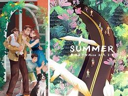 「融创24节气插画」夏日篇-小满 芒种 夏至 小暑