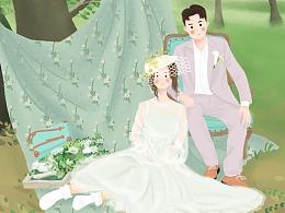 婚礼插画设计