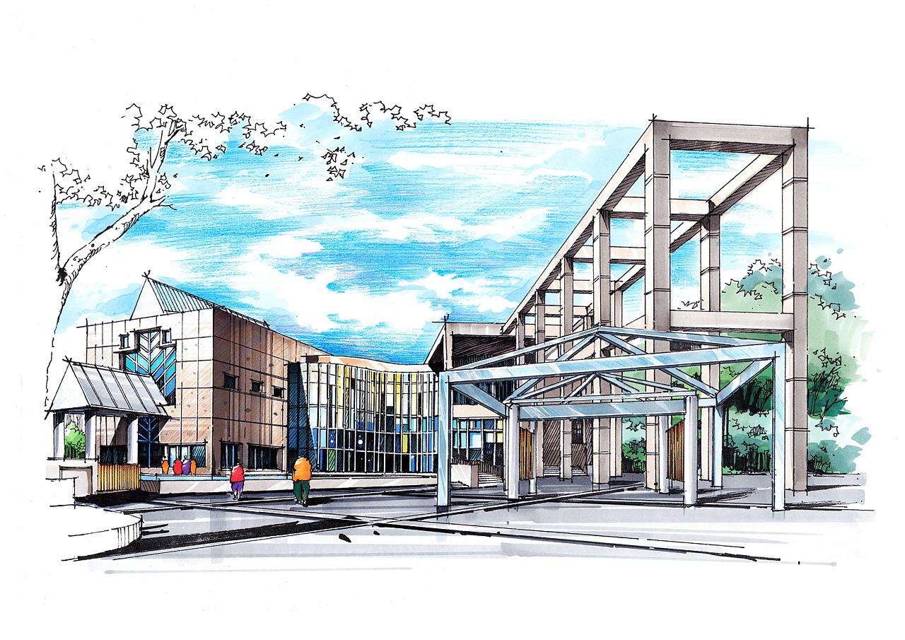 大师作品手绘——名古屋城市艺术博物馆|空间|建筑|建