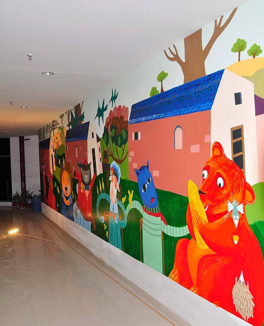 主题儿童房墙体墙画,少儿卡通壁画,主题卡通墙画