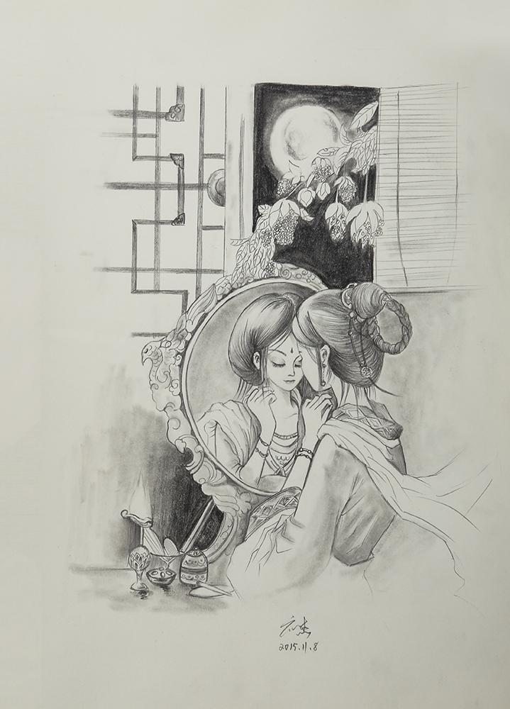 铅笔手绘 插画 插画习作 墨铭水犹寒 - 临摹作品