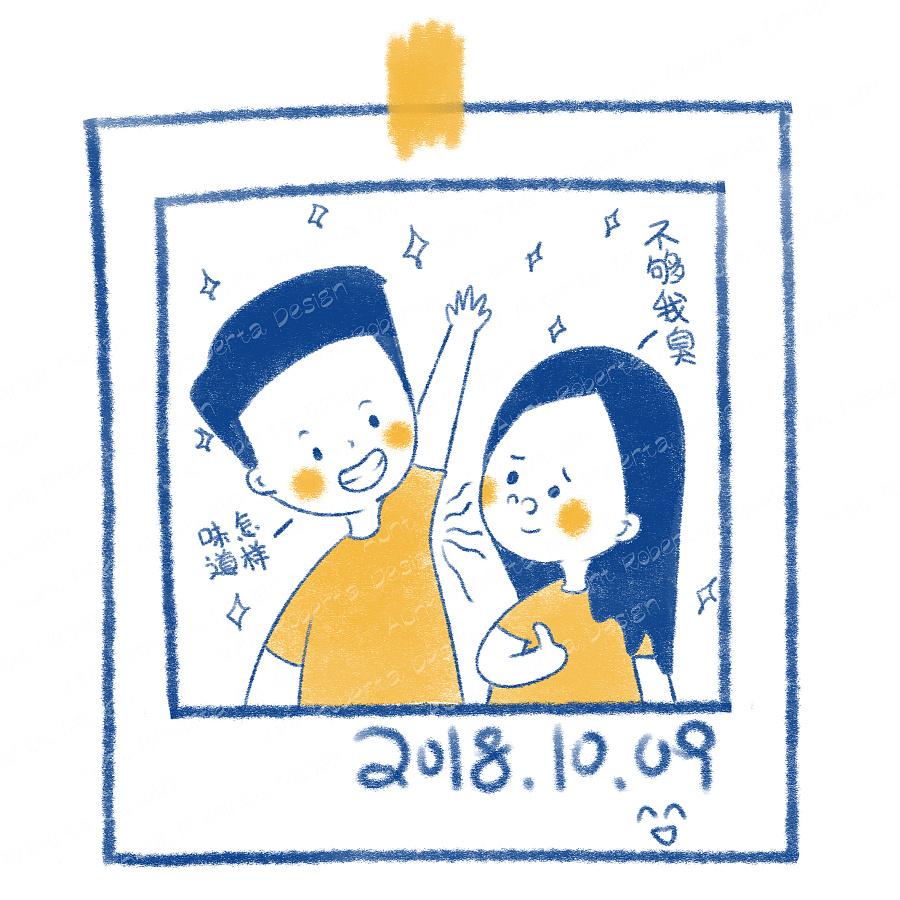 手绘情侣日常头像|插画习作|插画|小哎啵 - 原创设计