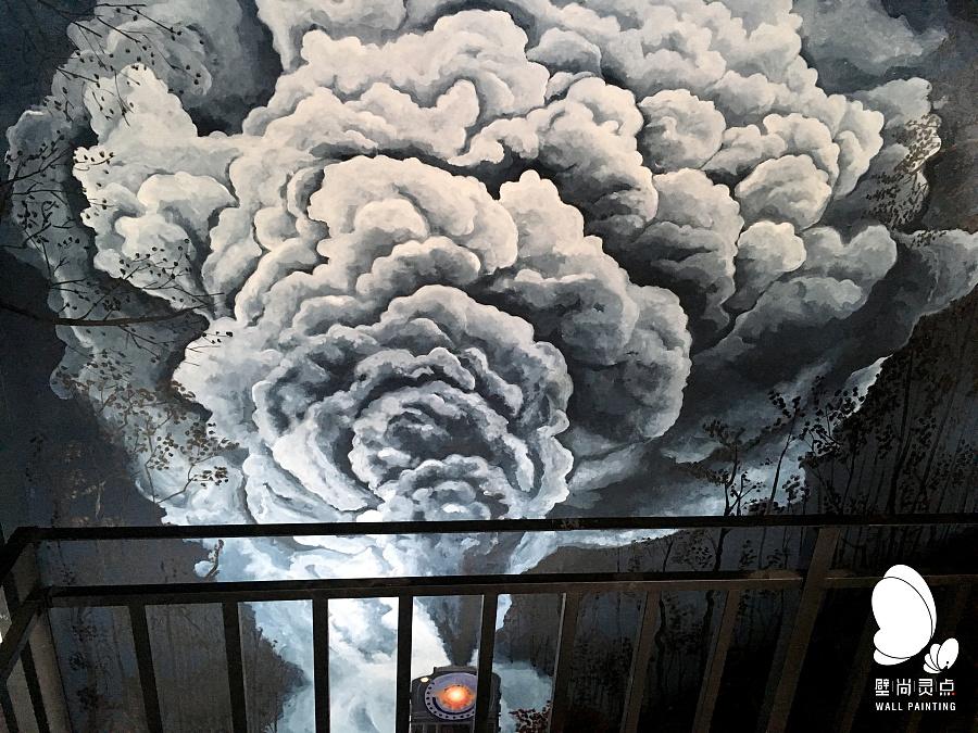 中国,仁怀,茅台镇附近!烘培咖啡店 手绘壁画