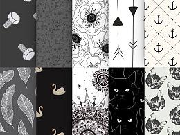 黑白猫咪、天鹅、羽毛、箭头等底纹图案叠加.pat