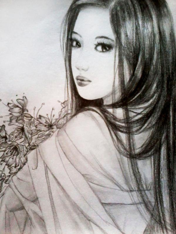 铅笔手绘古装女子|概念设定|插画|郭雨rainie