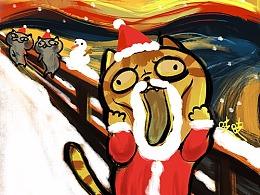 猫咪名画圣诞版
