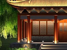 一个小庙夜景亮化图
