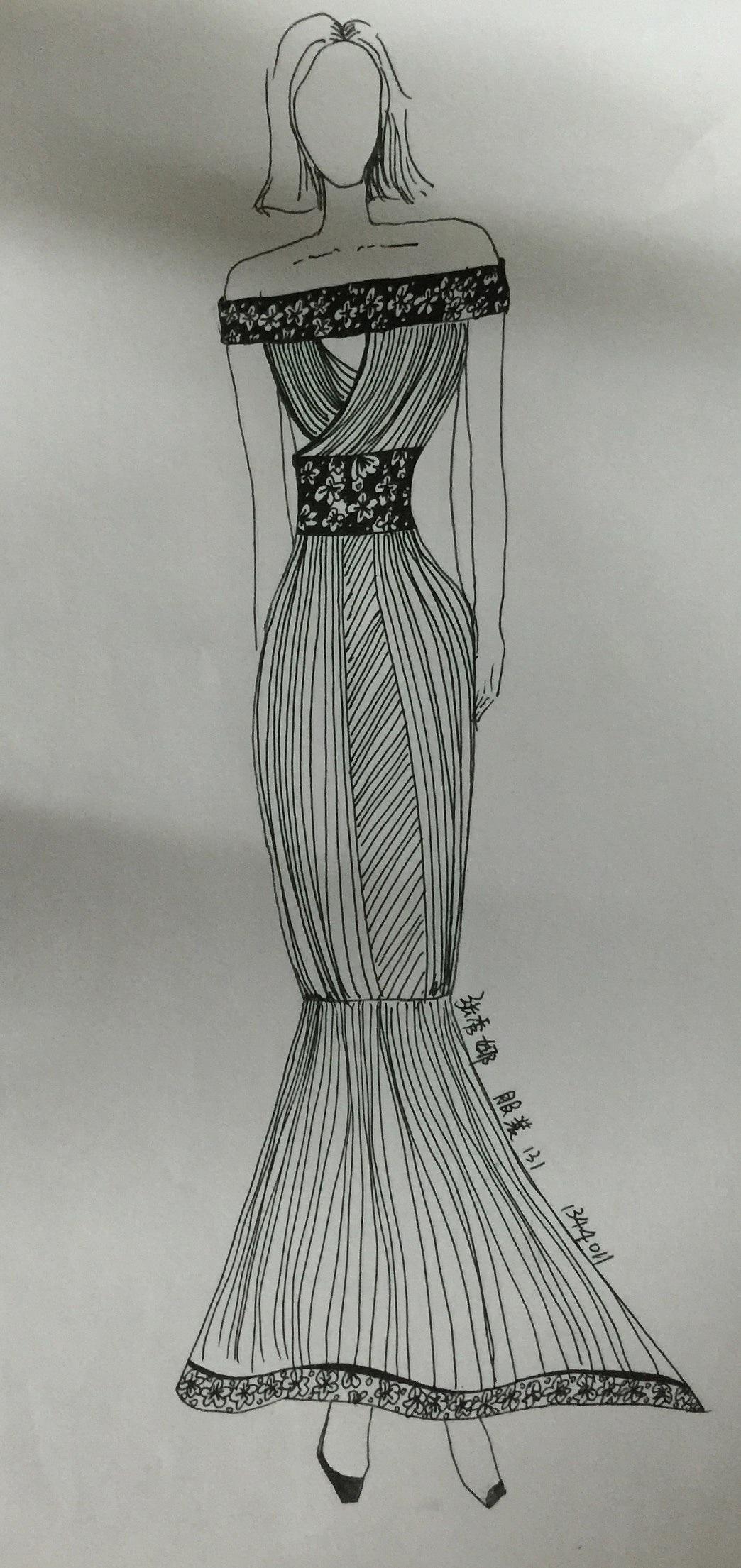 手绘服装设计图铅笔画展示图片