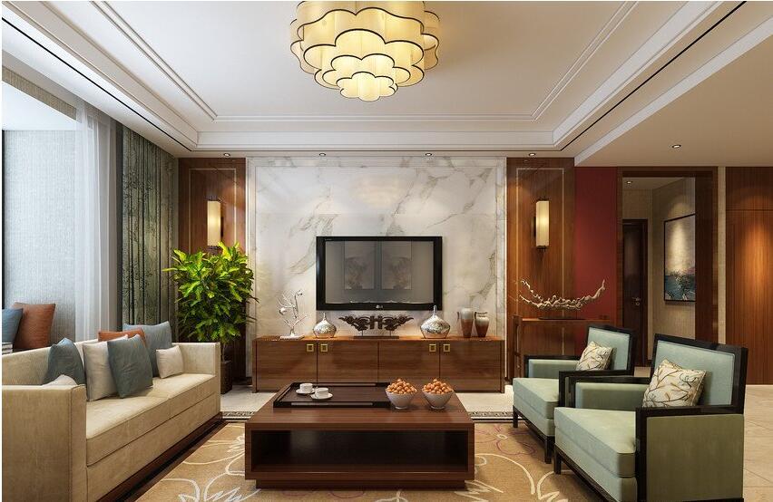 广电天韵装修效果图132平新中式风格三室两厅设计案例