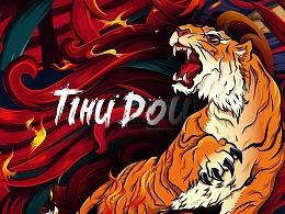 缇壶鬥焰 烧烤 餐饮 品牌设计 插画+色彩 鸡-虎-猪