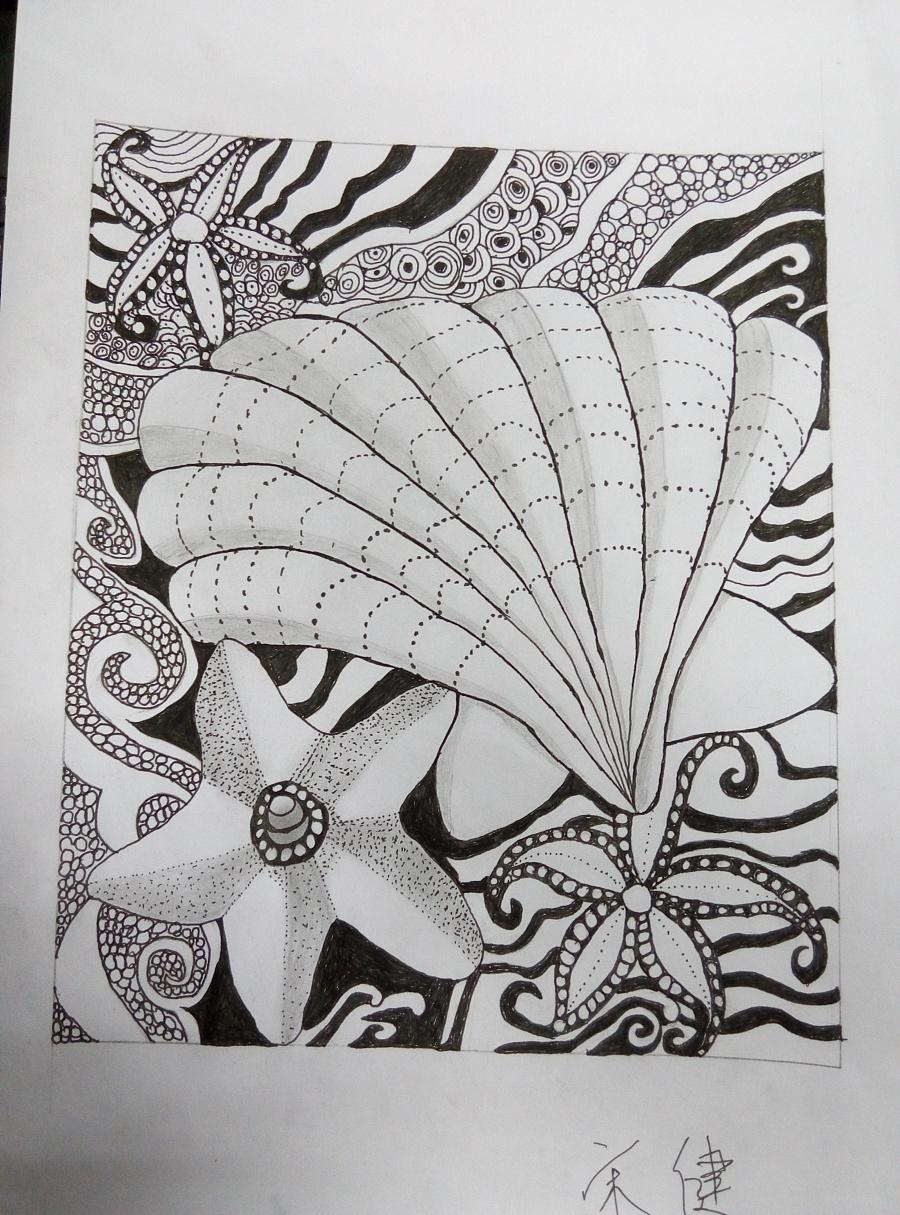原创手绘:图片海星红背心兔子扇贝背影大全图片