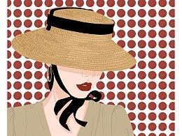 一组戴帽子头像绘画